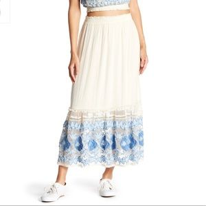 New Free People Rosebud Embroidered Maxi Skirt